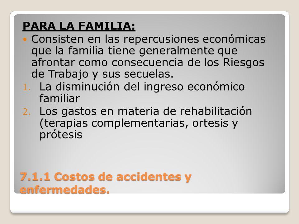 7.1.1 Costos de accidentes y enfermedades. PARA LA FAMILIA: Consisten en las repercusiones económicas que la familia tiene generalmente que afrontar c