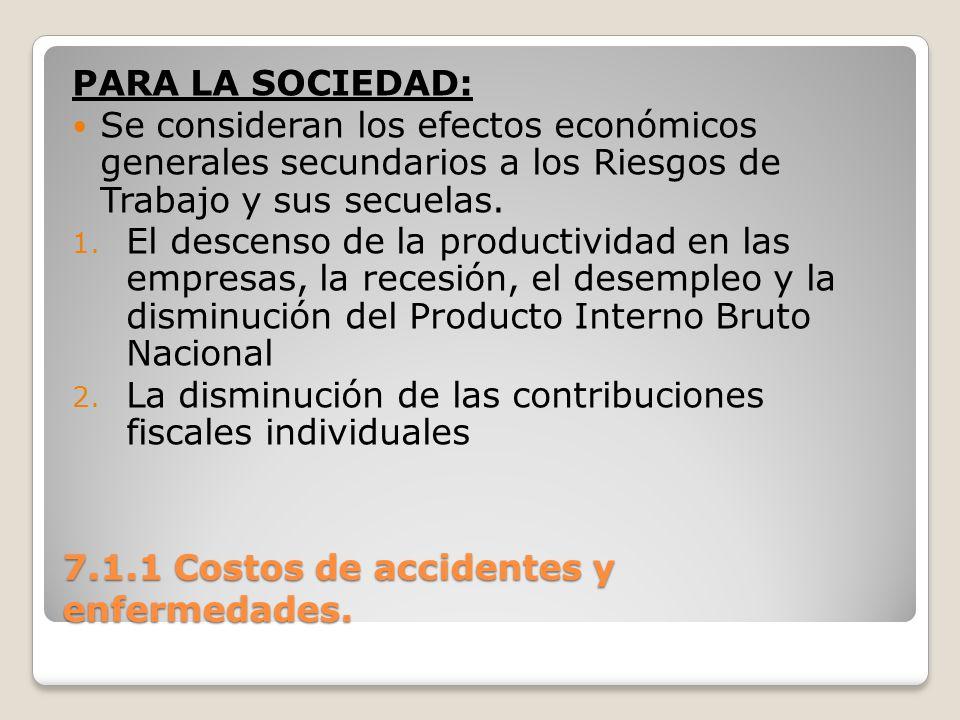 7.1.1 Costos de accidentes y enfermedades. PARA LA SOCIEDAD: Se consideran los efectos económicos generales secundarios a los Riesgos de Trabajo y sus