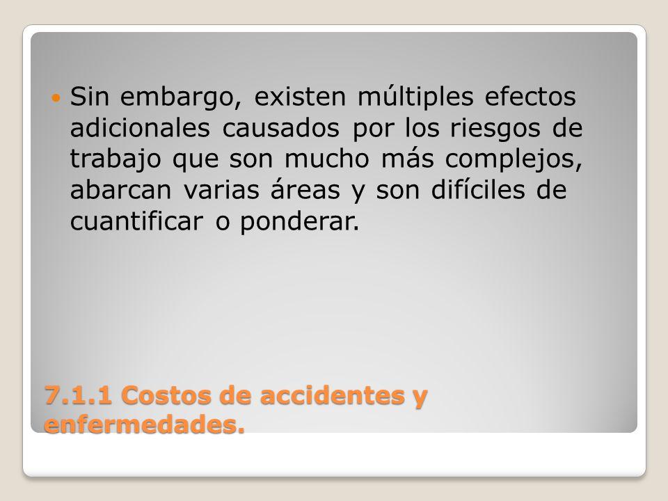 7.1.1 Costos de accidentes y enfermedades. Sin embargo, existen múltiples efectos adicionales causados por los riesgos de trabajo que son mucho más co