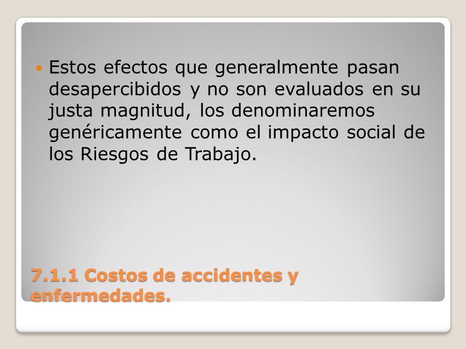 7.1.1 Costos de accidentes y enfermedades. Estos efectos que generalmente pasan desapercibidos y no son evaluados en su justa magnitud, los denominare