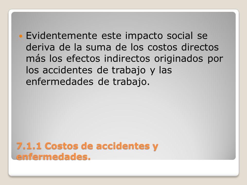 7.1.1 Costos de accidentes y enfermedades. Evidentemente este impacto social se deriva de la suma de los costos directos más los efectos indirectos or