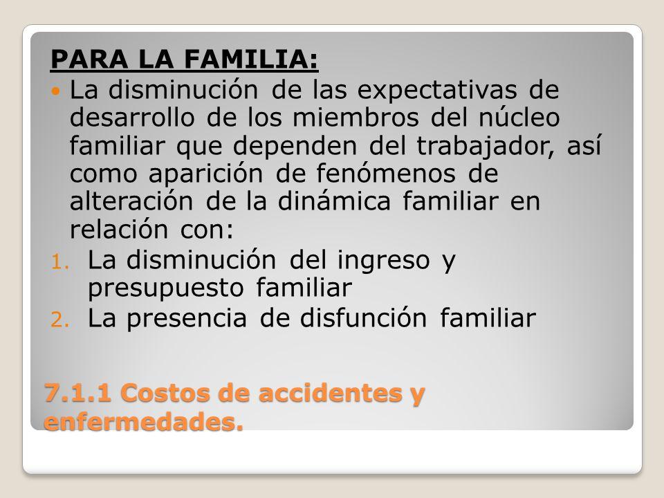 7.1.1 Costos de accidentes y enfermedades. PARA LA FAMILIA: La disminución de las expectativas de desarrollo de los miembros del núcleo familiar que d