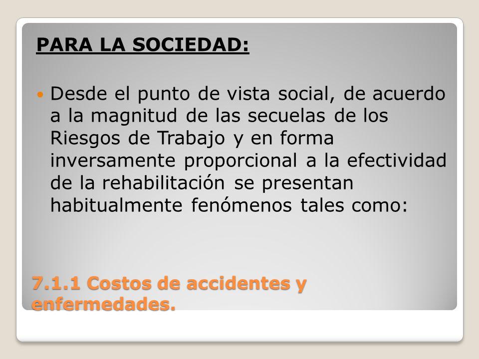 7.1.1 Costos de accidentes y enfermedades. PARA LA SOCIEDAD: Desde el punto de vista social, de acuerdo a la magnitud de las secuelas de los Riesgos d