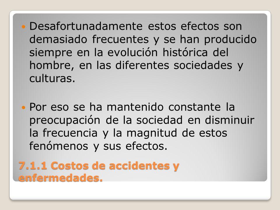7.1.1 Costos de accidentes y enfermedades. Desafortunadamente estos efectos son demasiado frecuentes y se han producido siempre en la evolución histór