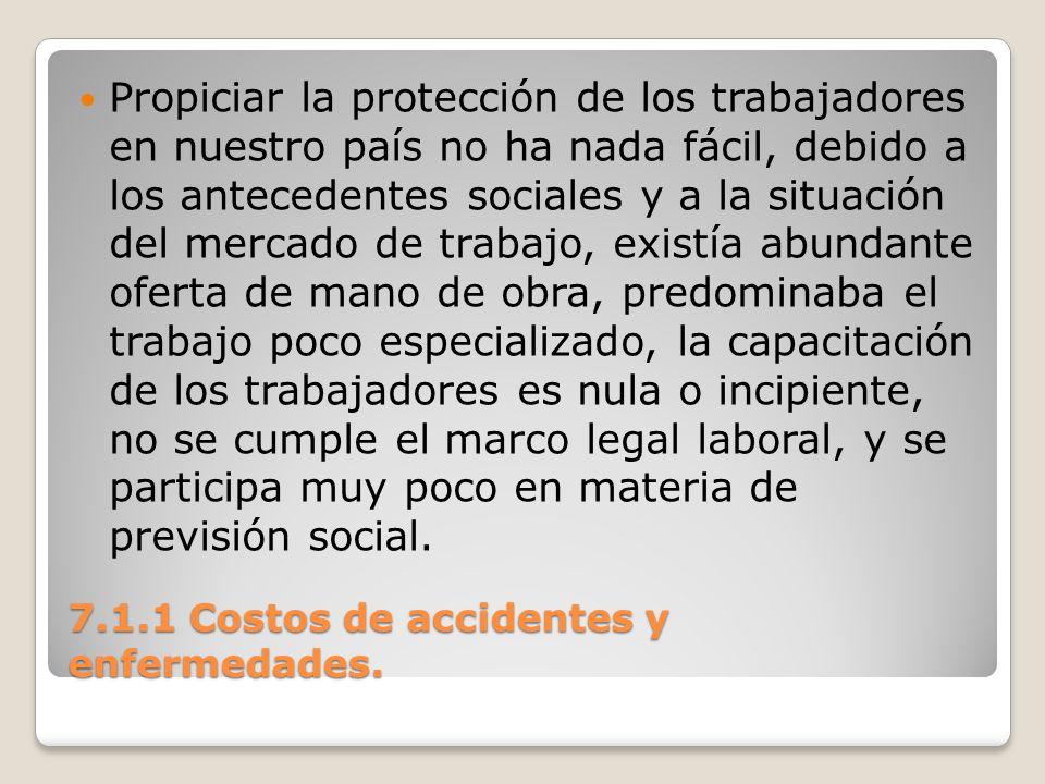 7.1.1 Costos de accidentes y enfermedades. Propiciar la protección de los trabajadores en nuestro país no ha nada fácil, debido a los antecedentes soc