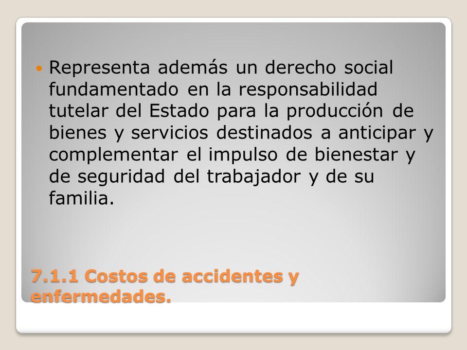 7.1.1 Costos de accidentes y enfermedades. Representa además un derecho social fundamentado en la responsabilidad tutelar del Estado para la producció