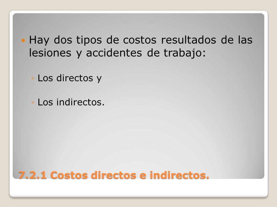 7.2.1 Costos directos e indirectos. Hay dos tipos de costos resultados de las lesiones y accidentes de trabajo: Los directos y Los indirectos.