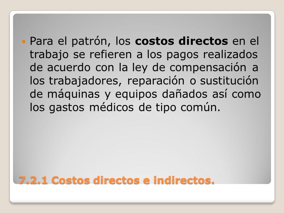 7.2.1 Costos directos e indirectos. Para el patrón, los costos directos en el trabajo se refieren a los pagos realizados de acuerdo con la ley de comp
