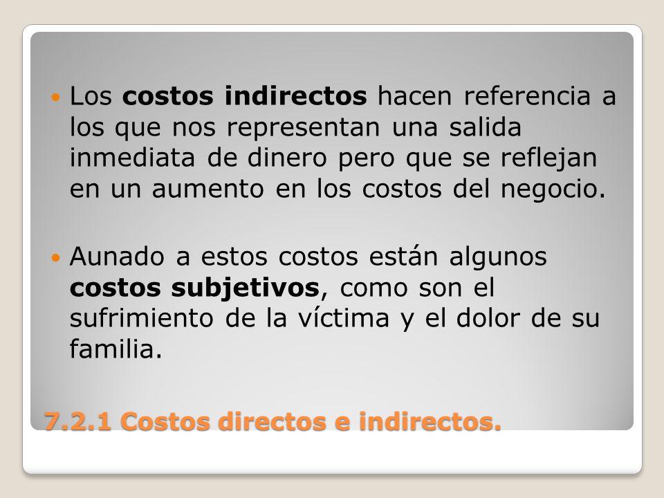 7.2.1 Costos directos e indirectos. Los costos indirectos hacen referencia a los que nos representan una salida inmediata de dinero pero que se reflej