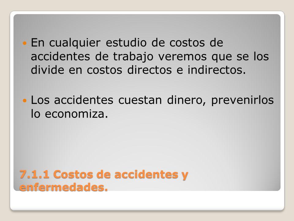 7.1.1 Costos de accidentes y enfermedades. En cualquier estudio de costos de accidentes de trabajo veremos que se los divide en costos directos e indi