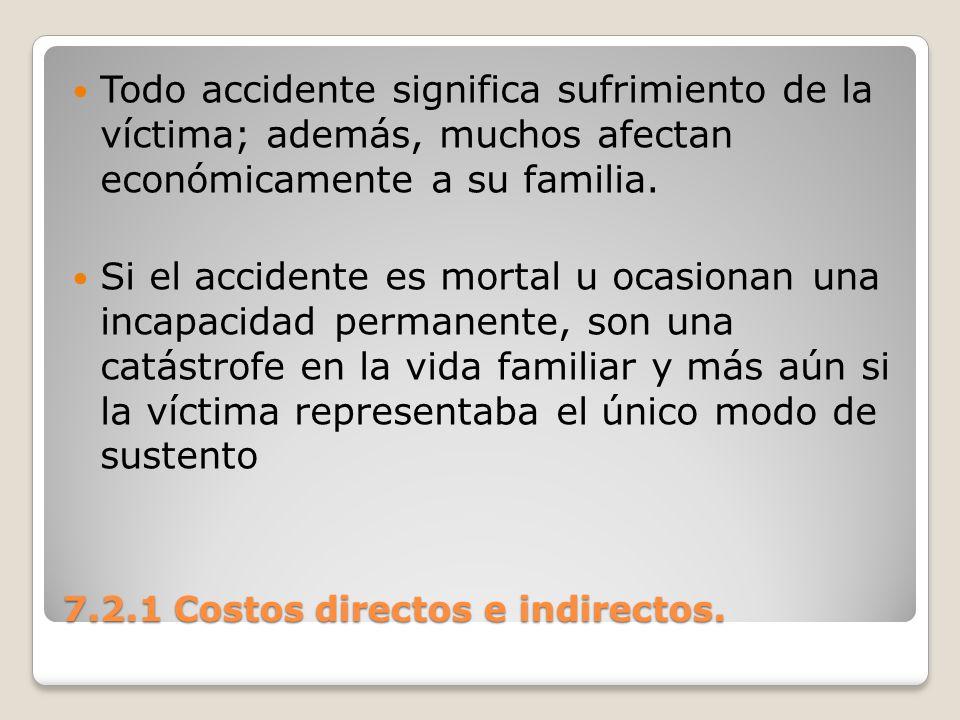 7.2.1 Costos directos e indirectos. Todo accidente significa sufrimiento de la víctima; además, muchos afectan económicamente a su familia. Si el acci