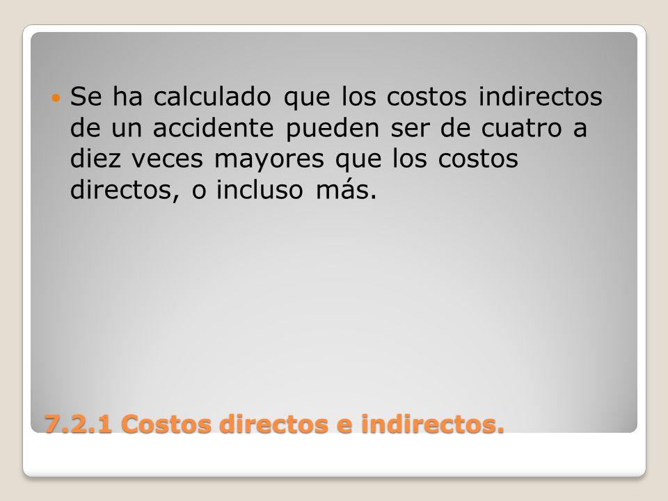 7.2.1 Costos directos e indirectos. Se ha calculado que los costos indirectos de un accidente pueden ser de cuatro a diez veces mayores que los costos