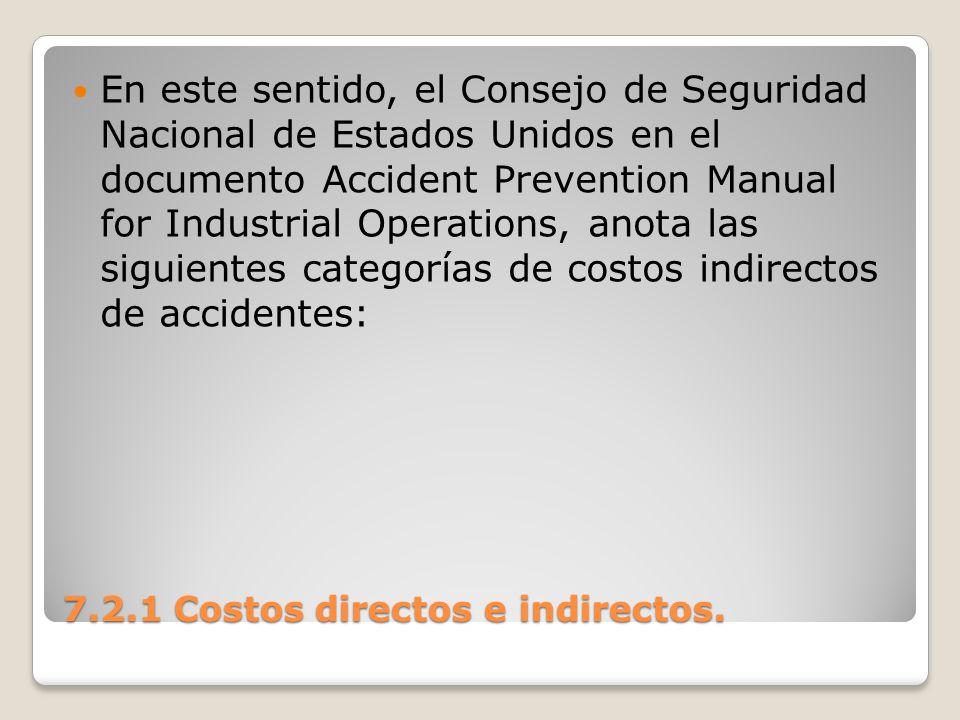 7.2.1 Costos directos e indirectos. En este sentido, el Consejo de Seguridad Nacional de Estados Unidos en el documento Accident Prevention Manual for
