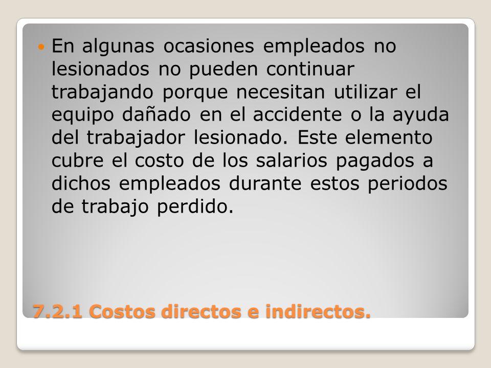 7.2.1 Costos directos e indirectos. En algunas ocasiones empleados no lesionados no pueden continuar trabajando porque necesitan utilizar el equipo da