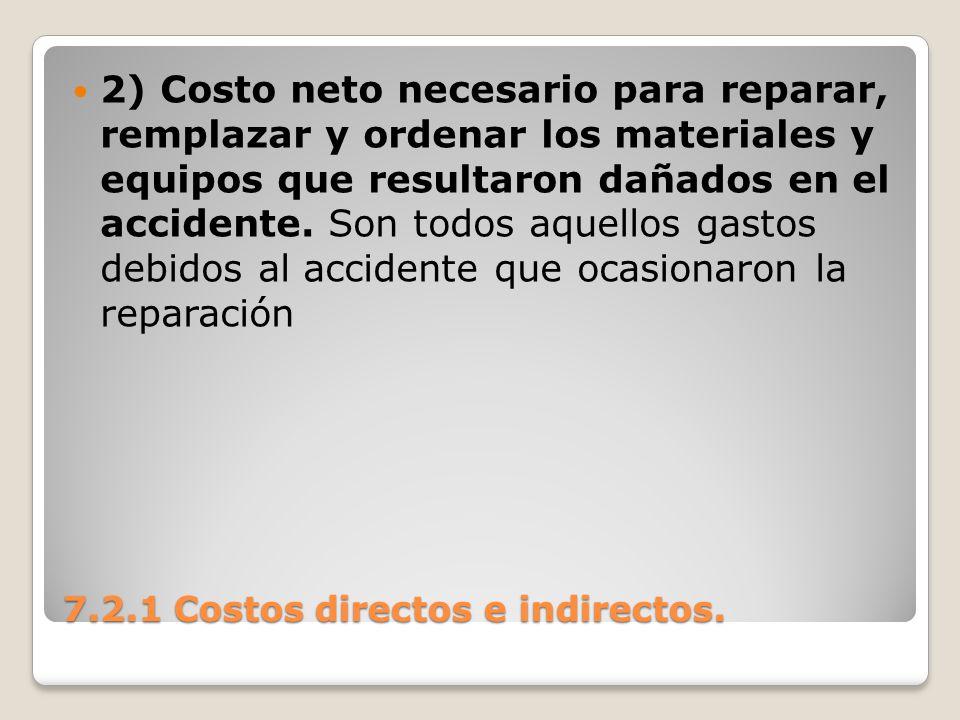 7.2.1 Costos directos e indirectos. 2) Costo neto necesario para reparar, remplazar y ordenar los materiales y equipos que resultaron dañados en el ac