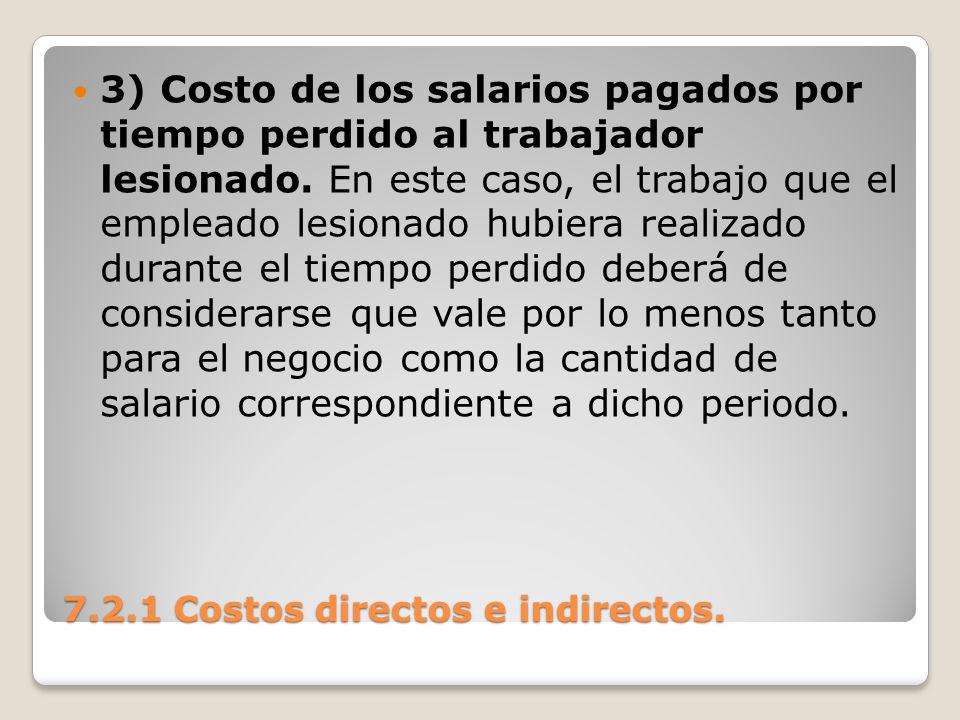 7.2.1 Costos directos e indirectos. 3) Costo de los salarios pagados por tiempo perdido al trabajador lesionado. En este caso, el trabajo que el emple