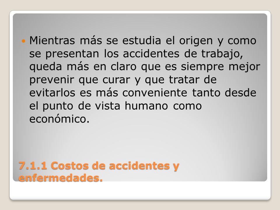 7.1.1 Costos de accidentes y enfermedades. Mientras más se estudia el origen y como se presentan los accidentes de trabajo, queda más en claro que es