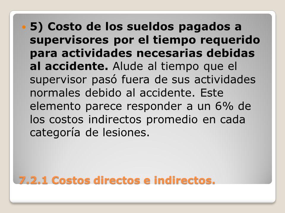 7.2.1 Costos directos e indirectos. 5) Costo de los sueldos pagados a supervisores por el tiempo requerido para actividades necesarias debidas al acci