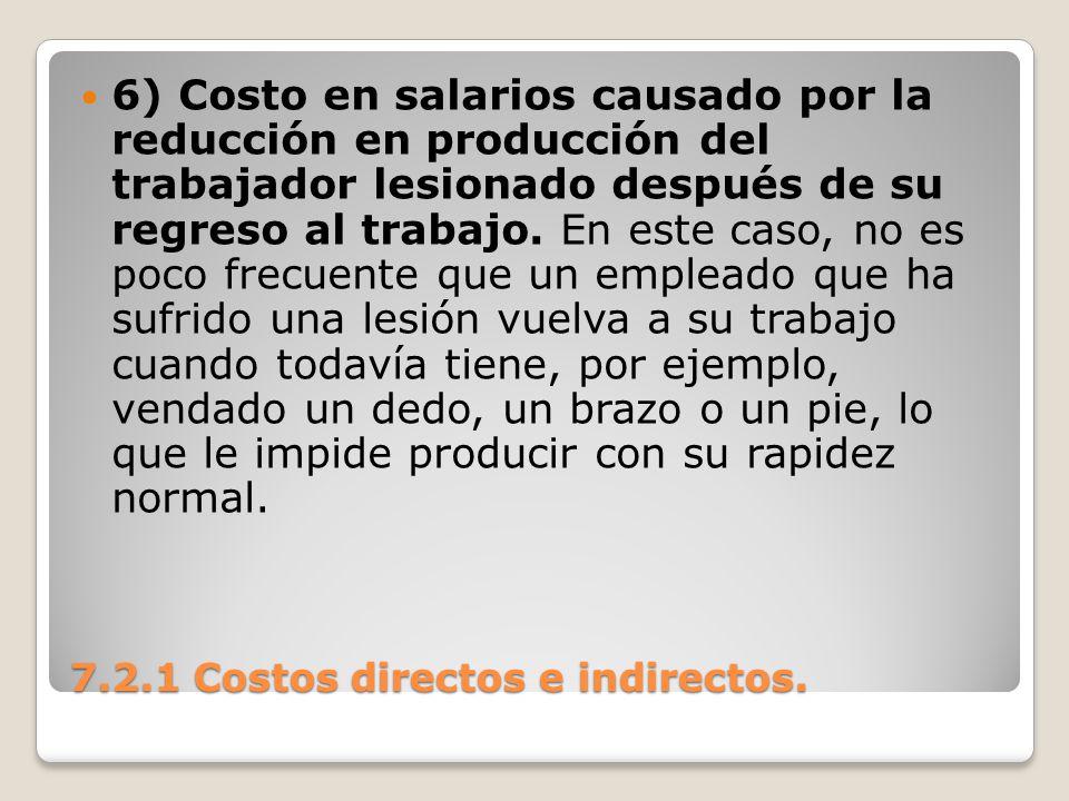 7.2.1 Costos directos e indirectos. 6) Costo en salarios causado por la reducción en producción del trabajador lesionado después de su regreso al trab