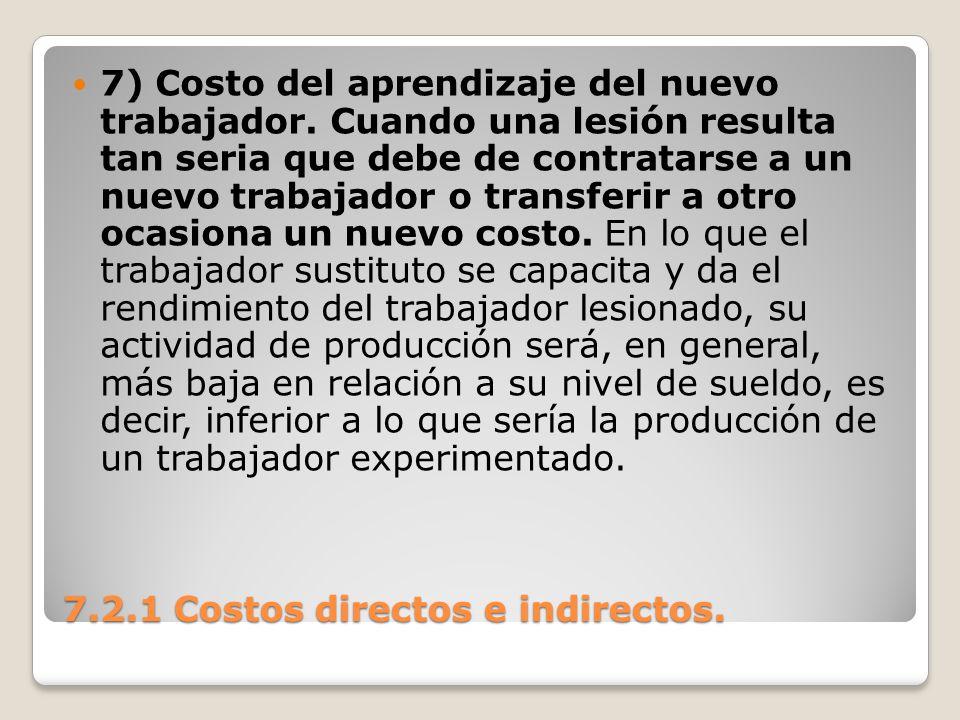 7.2.1 Costos directos e indirectos. 7) Costo del aprendizaje del nuevo trabajador. Cuando una lesión resulta tan seria que debe de contratarse a un nu
