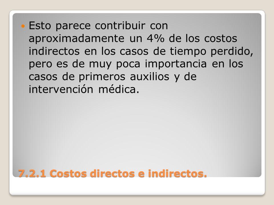 7.2.1 Costos directos e indirectos. Esto parece contribuir con aproximadamente un 4% de los costos indirectos en los casos de tiempo perdido, pero es