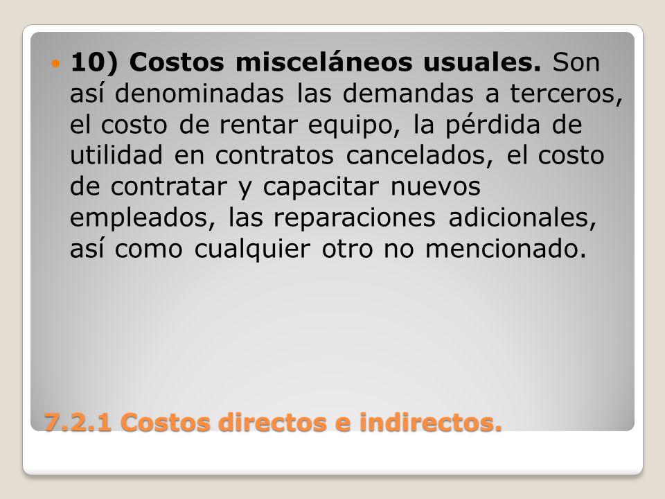 7.2.1 Costos directos e indirectos. 10) Costos misceláneos usuales. Son así denominadas las demandas a terceros, el costo de rentar equipo, la pérdida