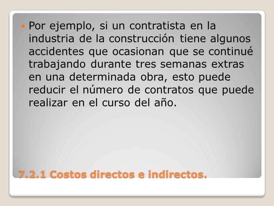 7.2.1 Costos directos e indirectos. Por ejemplo, si un contratista en la industria de la construcción tiene algunos accidentes que ocasionan que se co