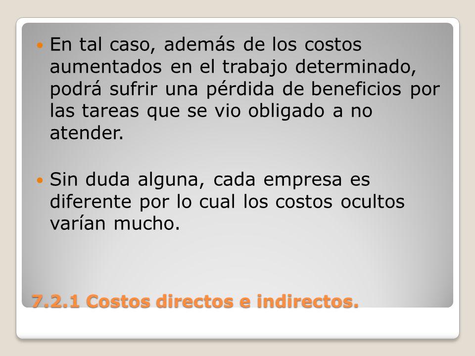 7.2.1 Costos directos e indirectos. En tal caso, además de los costos aumentados en el trabajo determinado, podrá sufrir una pérdida de beneficios por