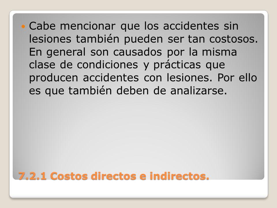 7.2.1 Costos directos e indirectos. Cabe mencionar que los accidentes sin lesiones también pueden ser tan costosos. En general son causados por la mis