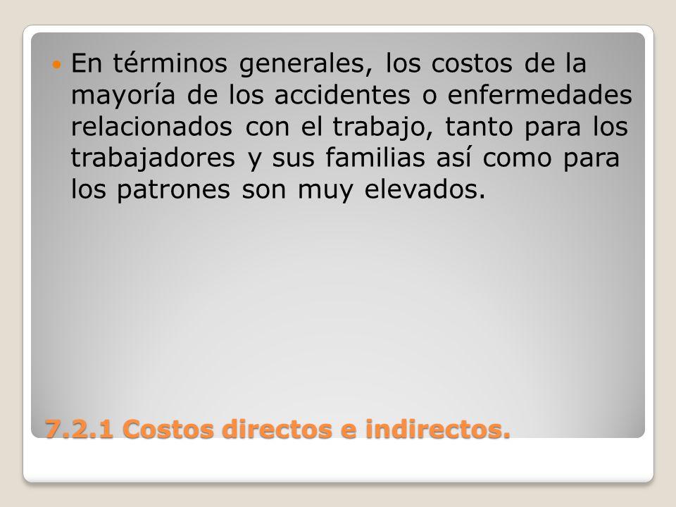 7.2.1 Costos directos e indirectos. En términos generales, los costos de la mayoría de los accidentes o enfermedades relacionados con el trabajo, tant