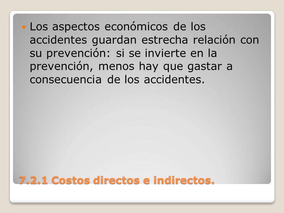 7.2.1 Costos directos e indirectos. Los aspectos económicos de los accidentes guardan estrecha relación con su prevención: si se invierte en la preven