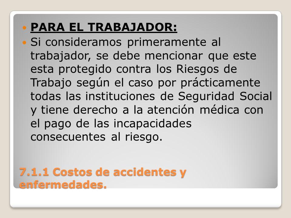 7.1.1 Costos de accidentes y enfermedades. PARA EL TRABAJADOR: Si consideramos primeramente al trabajador, se debe mencionar que este esta protegido c