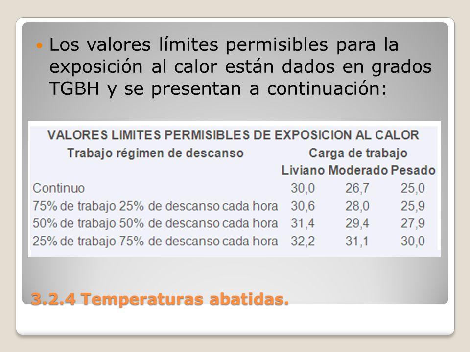 3.2.4 Temperaturas abatidas. Los valores límites permisibles para la exposición al calor están dados en grados TGBH y se presentan a continuación: