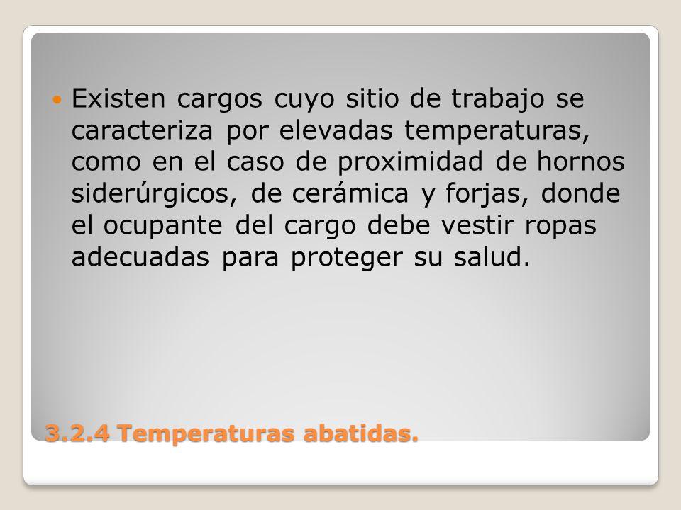 3.2.4 Temperaturas abatidas. Existen cargos cuyo sitio de trabajo se caracteriza por elevadas temperaturas, como en el caso de proximidad de hornos si