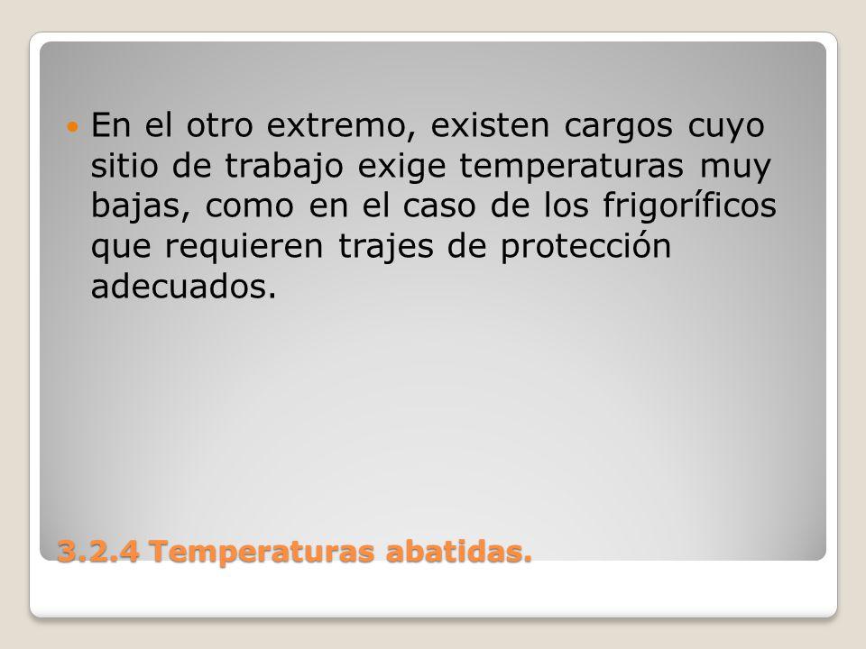 3.2.4 Temperaturas abatidas. En el otro extremo, existen cargos cuyo sitio de trabajo exige temperaturas muy bajas, como en el caso de los frigorífico