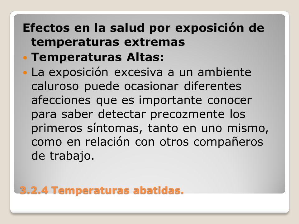 3.2.4 Temperaturas abatidas. Efectos en la salud por exposición de temperaturas extremas Temperaturas Altas: La exposición excesiva a un ambiente calu