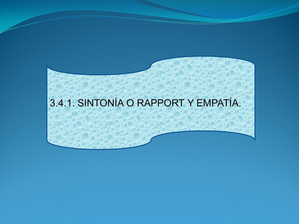 3.4.1. SINTONÍA O RAPPORT Y EMPATÍA.