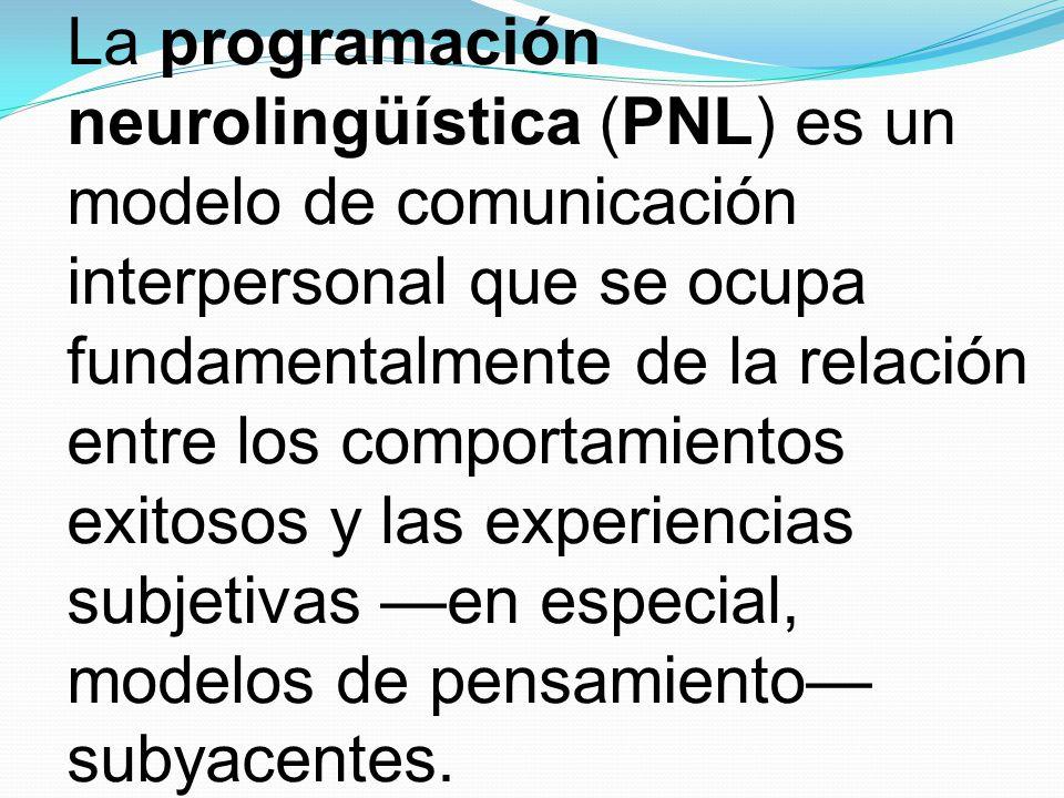 La programación neurolingüística (PNL) es un modelo de comunicación interpersonal que se ocupa fundamentalmente de la relación entre los comportamientos exitosos y las experiencias subjetivas en especial, modelos de pensamiento subyacentes.