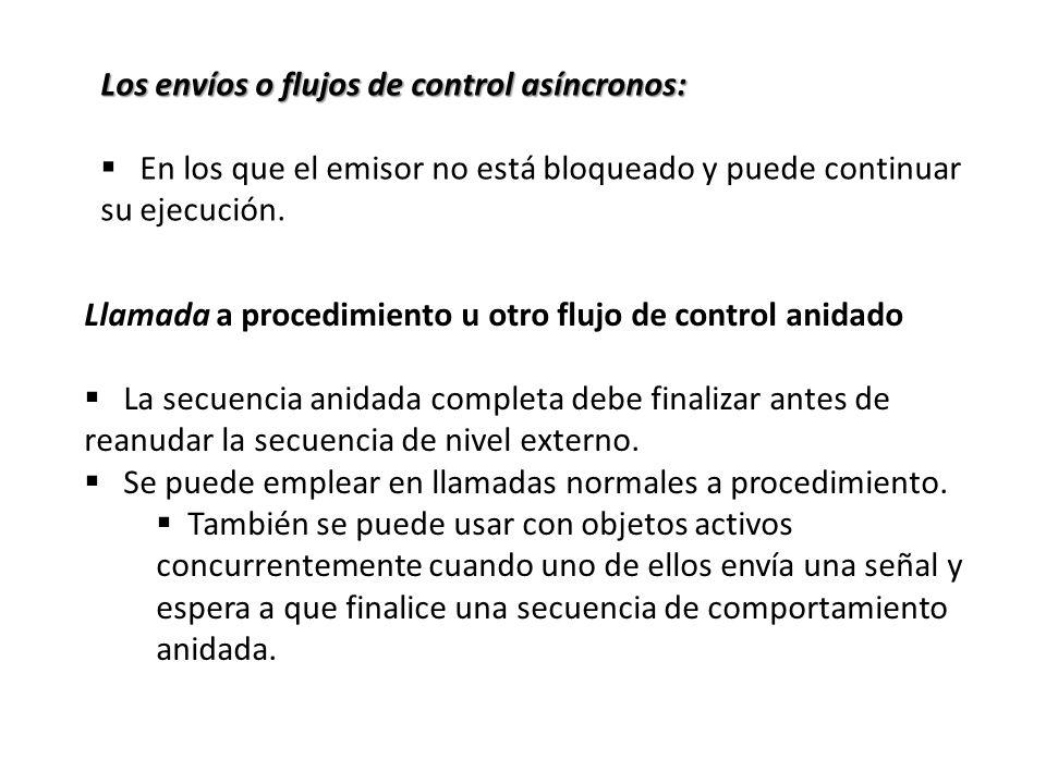 Los envíos o flujos de control asíncronos: En los que el emisor no está bloqueado y puede continuar su ejecución. Llamada a procedimiento u otro flujo