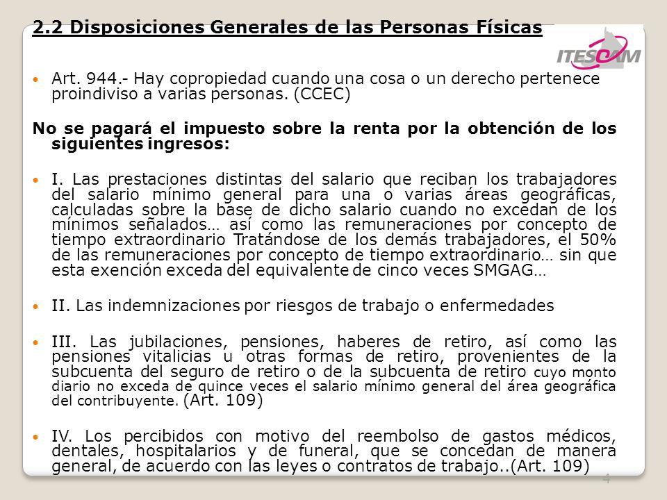 4 2.2 Disposiciones Generales de las Personas Físicas Art. 944.- Hay copropiedad cuando una cosa o un derecho pertenece proindiviso a varias personas.