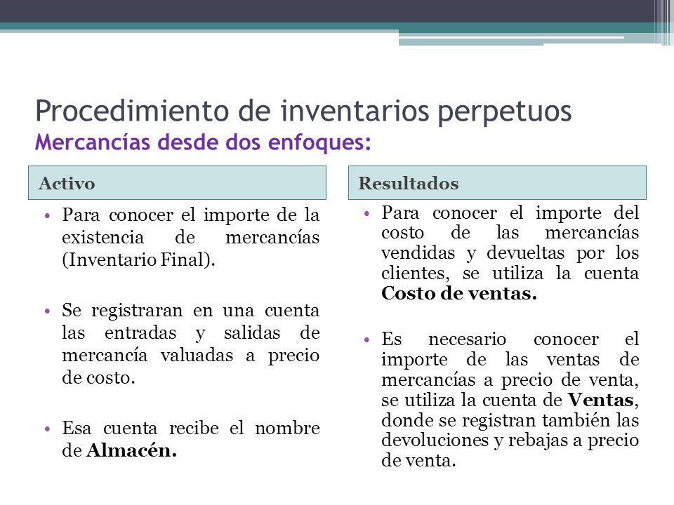 Procedimiento de inventarios perpetuos Mercancías desde dos enfoques: ActivoResultados Para conocer el importe de la existencia de mercancías (Inventa