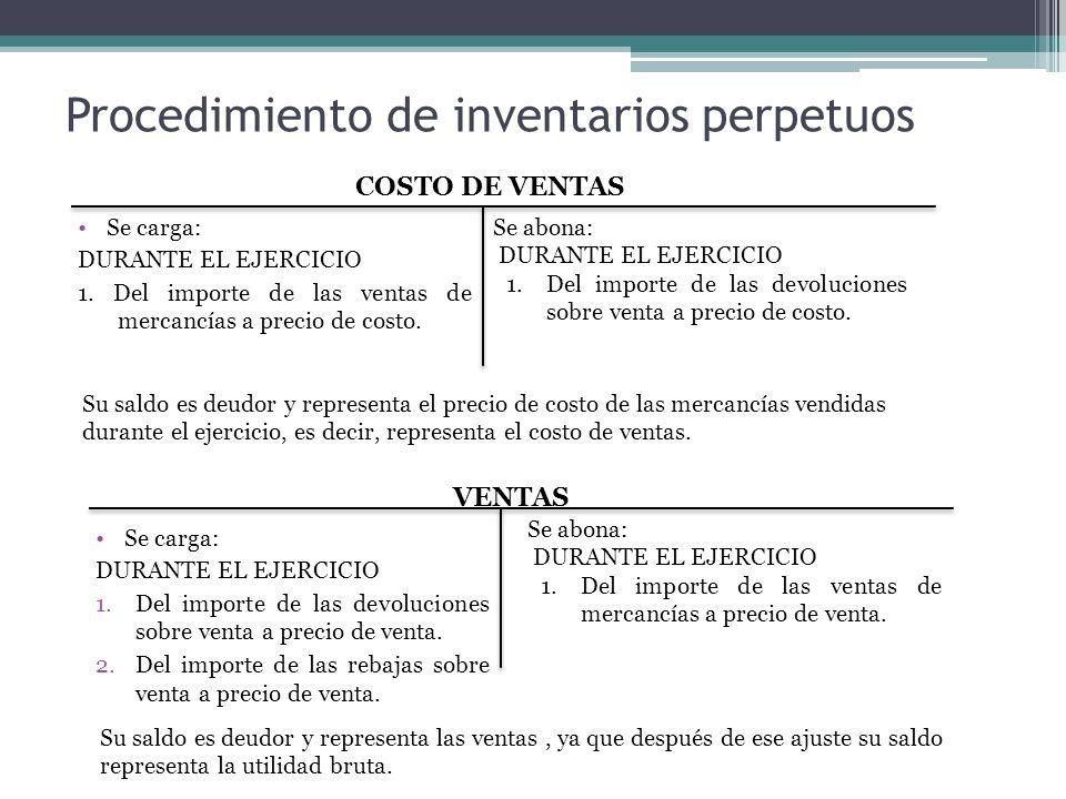 Procedimiento de inventarios perpetuos Se carga: DURANTE EL EJERCICIO 1. Del importe de las ventas de mercancías a precio de costo. Se abona: DURANTE