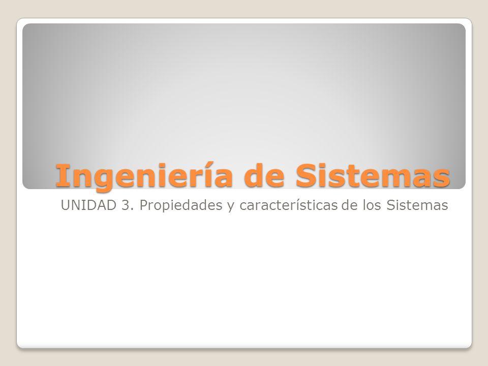 Ingeniería de Sistemas UNIDAD 3. Propiedades y características de los Sistemas