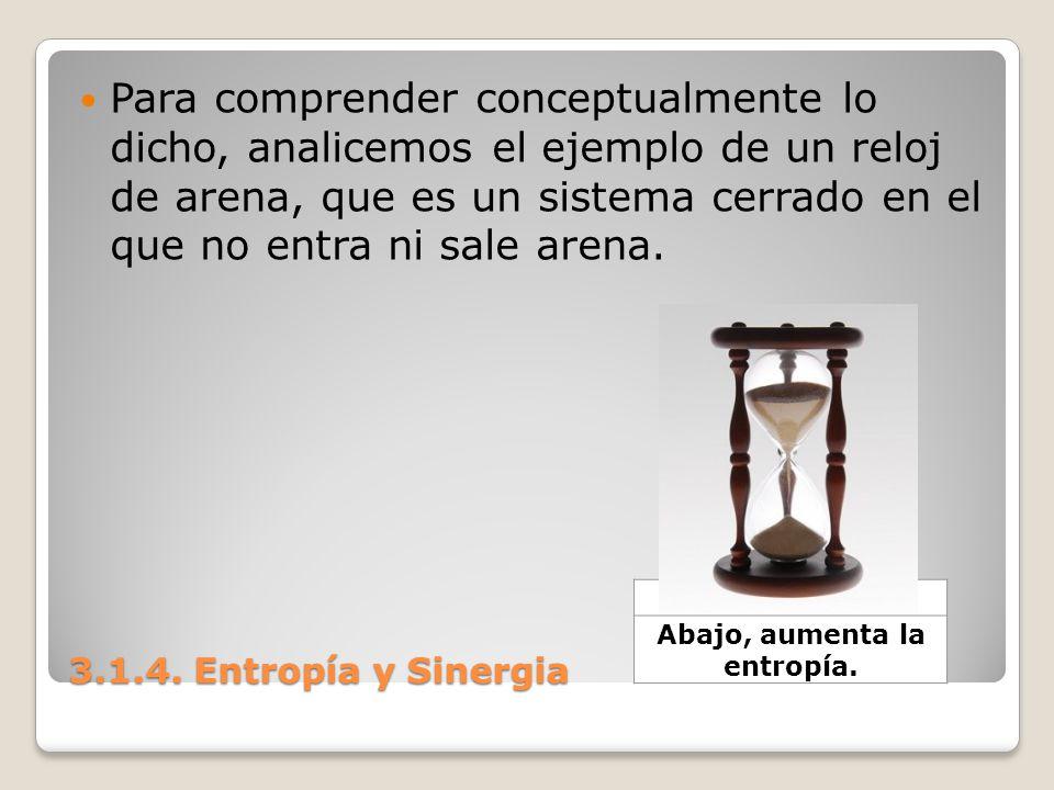 3.1.4. Entropía y Sinergia Para comprender conceptualmente lo dicho, analicemos el ejemplo de un reloj de arena, que es un sistema cerrado en el que n