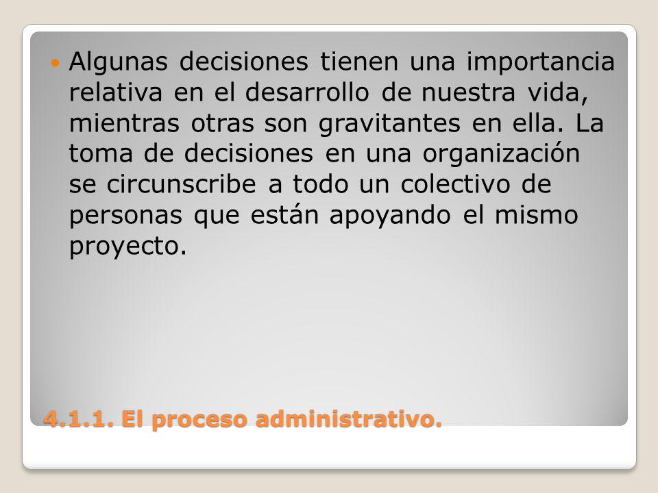 4.1.1. El proceso administrativo. Algunas decisiones tienen una importancia relativa en el desarrollo de nuestra vida, mientras otras son gravitantes