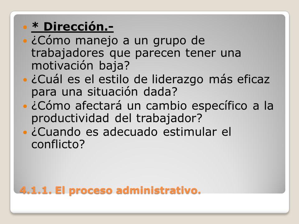 4.1.1. El proceso administrativo. * Dirección.- ¿Cómo manejo a un grupo de trabajadores que parecen tener una motivación baja? ¿Cuál es el estilo de l