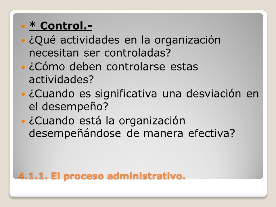 4.1.1. El proceso administrativo. * Control.- ¿Qué actividades en la organización necesitan ser controladas? ¿Cómo deben controlarse estas actividades
