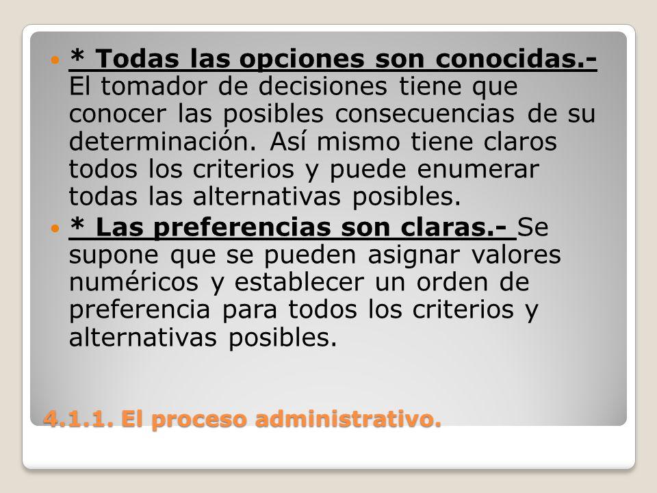 4.1.1. El proceso administrativo. * Todas las opciones son conocidas.- El tomador de decisiones tiene que conocer las posibles consecuencias de su det