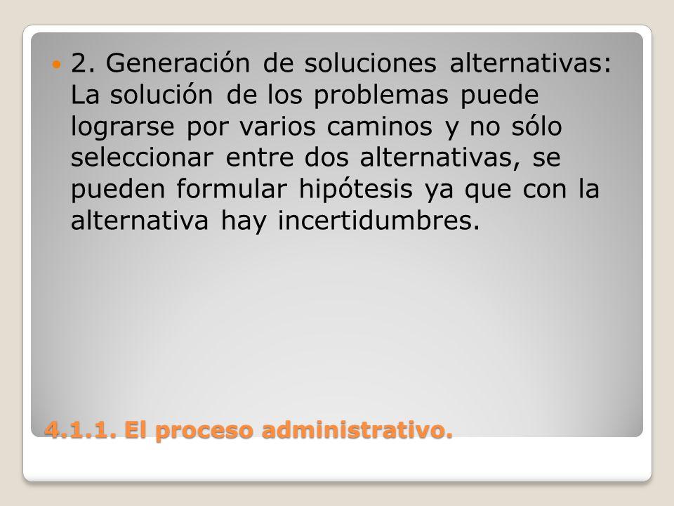 4.1.1. El proceso administrativo. 2. Generación de soluciones alternativas: La solución de los problemas puede lograrse por varios caminos y no sólo s