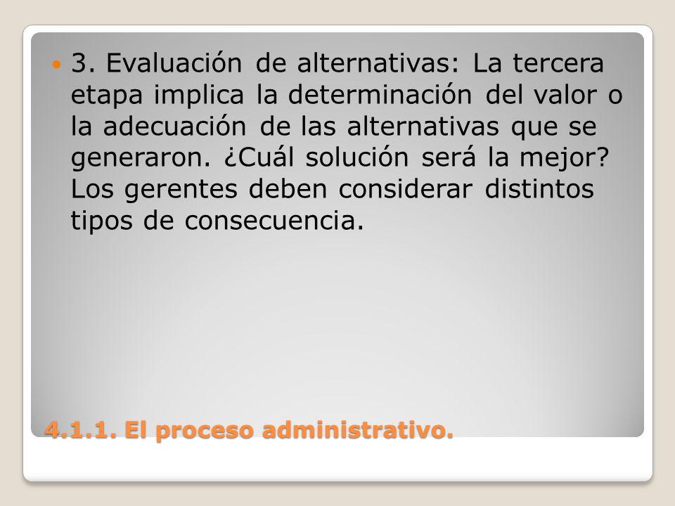 4.1.1. El proceso administrativo. 3. Evaluación de alternativas: La tercera etapa implica la determinación del valor o la adecuación de las alternativ